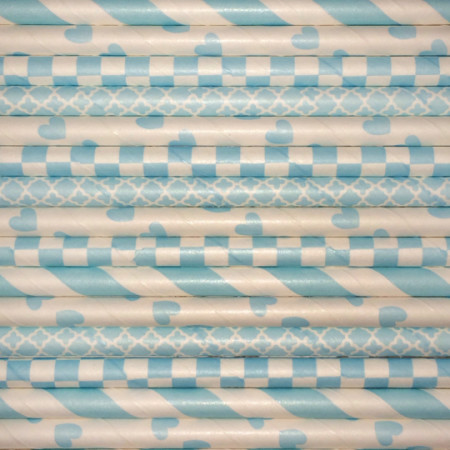 Baby Blue Paper Straws Mix