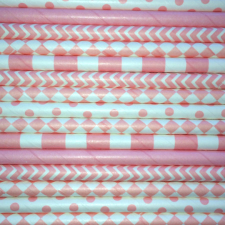 Light Pink Paper Straws Mix