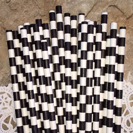 Black Horizontal Striped Paper Straws - Cake Pop Stand Co
