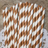 Brown Diagonal Striped Paper Straws - Cake Pop Stand Co