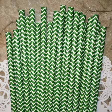 Forest Green Chevron Paper Straws - Cake Pop Stand Co