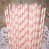 Light Pink Large Polka Dot Paper Straws