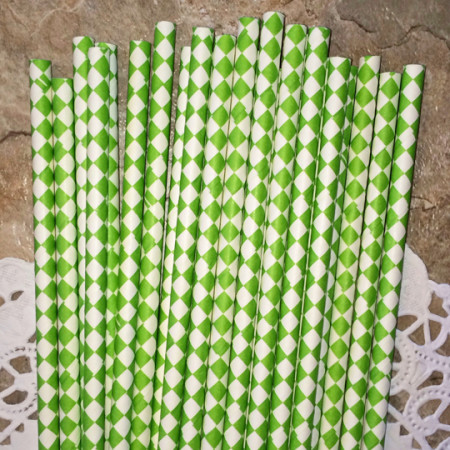 Lime Green Diamond Paper Straws - Cake Pop Stand Co