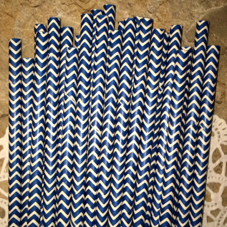 Navy Blue Chevron Paper Straws - Cake Pop Stand Co.