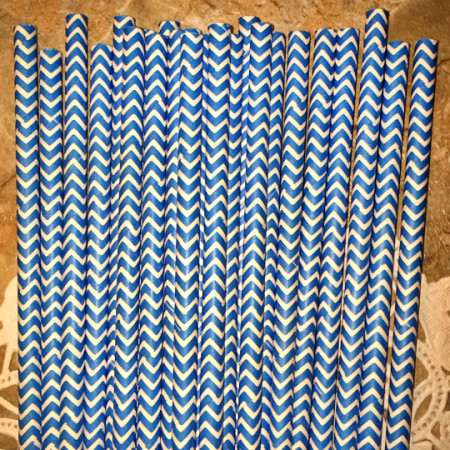 Ocean Blue Chevron Paper Straws - Cake Pop Stand Co.