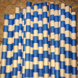 Ocean Blue Horizontal Striped Paper Straws - Cake Pop Stand Co.