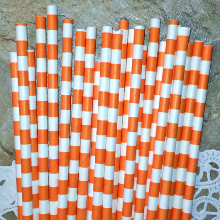 Orange Horizontal Striped Paper Straws - Cake Pop Stand Co