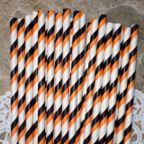 Orange and Black Diagonal Stripes Paper Straws
