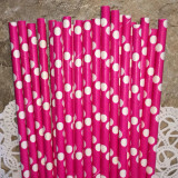 Pink with Large White Polka Dots Paper Straws - Cake Pop Stand Co