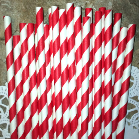 Red Diagonal Stripes Paper Straws - CakePopStandCo.com
