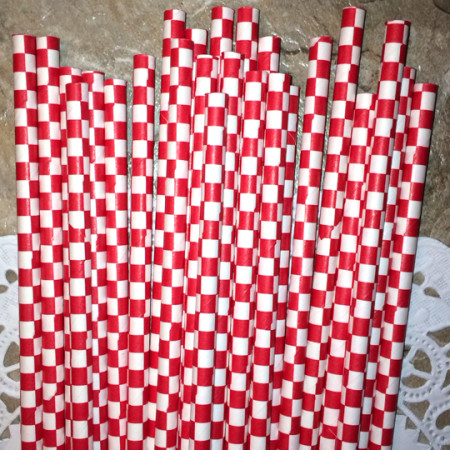 Red Square Paper Straws - Cake Pop Stand Co.