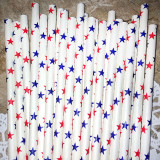 Red White and Blue Star Paper Straws - CakePopStandCo.com