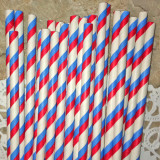 Red and Blue Diagonal Stripes Paper Straws - Cake Pop Stand Co.