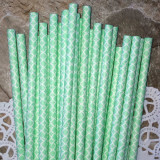 Sea Foam Damask Paper Straws - Cake Pop Stand Co