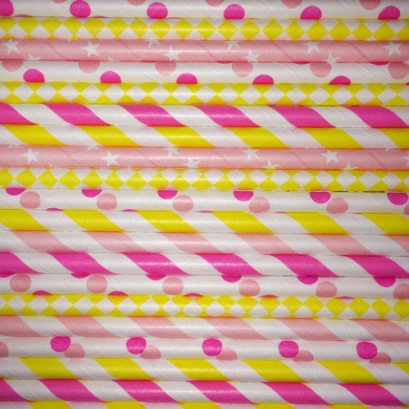 Strawberry Lemonade Paper Straws Mix