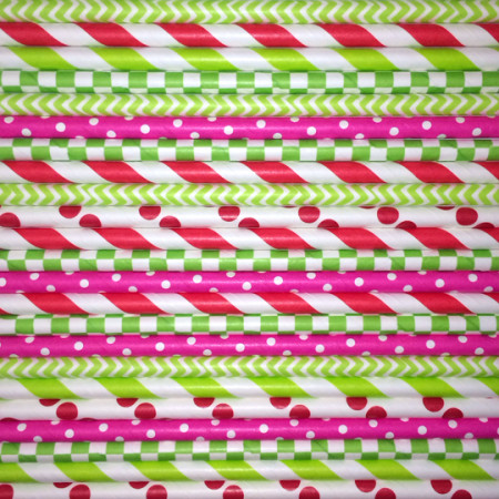 Strawberry Shortcake Mix Paper Straws - Cake Pop Stand Co