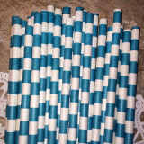 Teal Horizontal Striped Paper Straws - Cake Pop Stand Co
