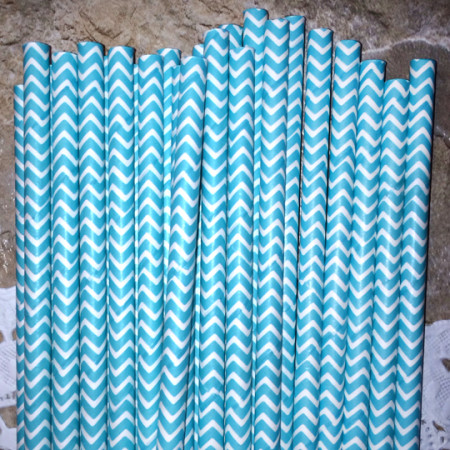 Turquoise Blue Chevron Paper Straws - Cake Pop Stand Co.