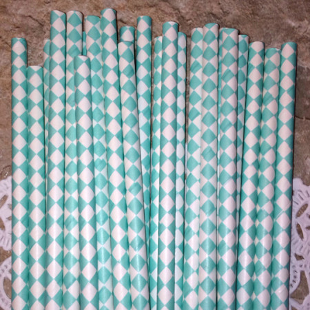 Turquoise Diamond Paper Straws - Cake Pop Stand Co