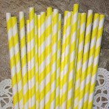 Yellow Diagonal Striped Paper Straws - Cake Pop Stand Co