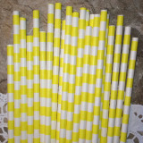Yellow Horizontal Striped Paper Straws - Cake Pop Stand Co