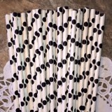 Black Large Polka Dot Paper Straws