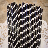 Black Paper Straws with Large White Polka Dots