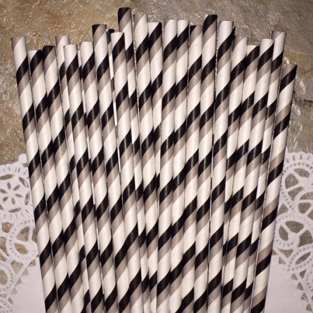 Black and Gray Diagonal Striped Paper Straws