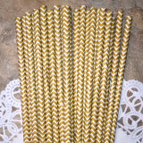 Bright Gold Chevron Paper Straws