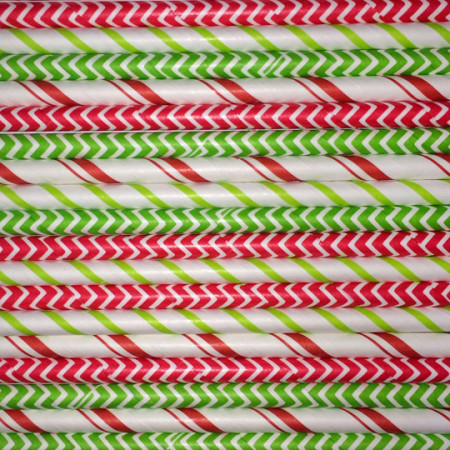 Candy Cane Paper Straws Mix