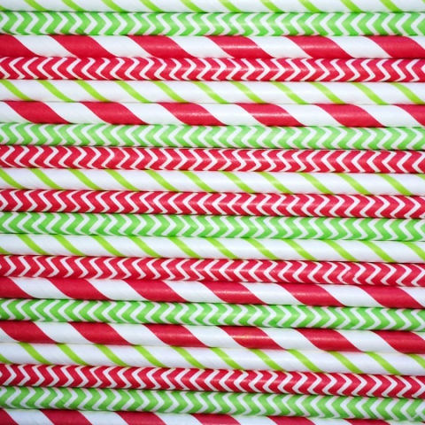 candy cane mix paper straws