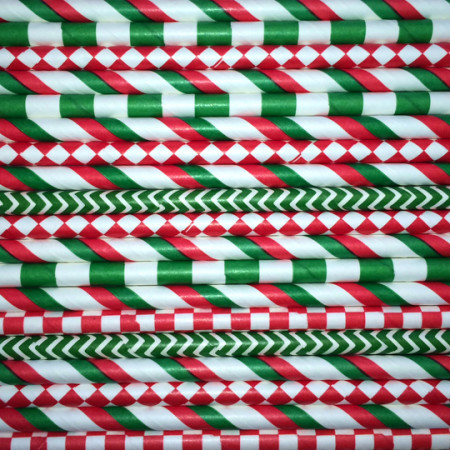 Christmas Paper Straws Mix