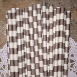 Gray Horizontal Striped Paper Straws