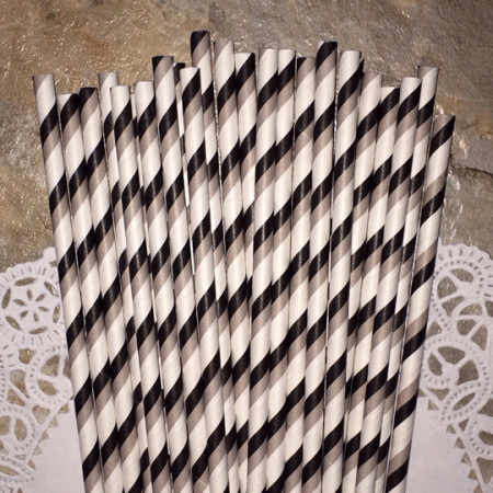 Gray and Black Diagonal Stripes Paper Straws