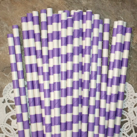 Lavender Horizontal Striped Paper Straws