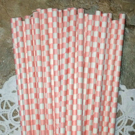 Light Pink Checkered Paper Straws