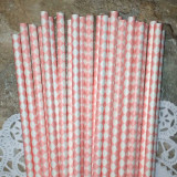 Light Pink Diamond Paper Straws