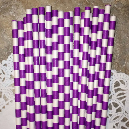 Purple Horizontal Striped Paper Straws