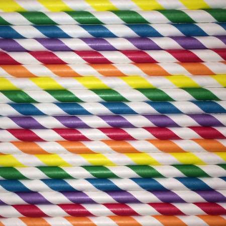 Rainbow Stripes Paper Straws Mix