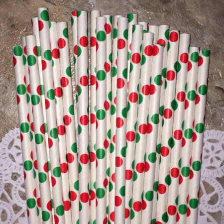 Red and Green Polka Dot Paper Straws