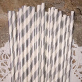 Silver Diagonal Striped Paper Straws