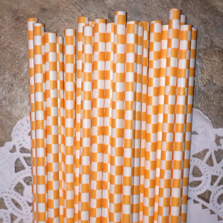 Tangerine Orange Checkered Paper Straws
