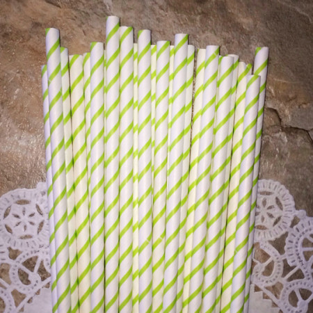 Apple reen Thin Striped Paper Straws
