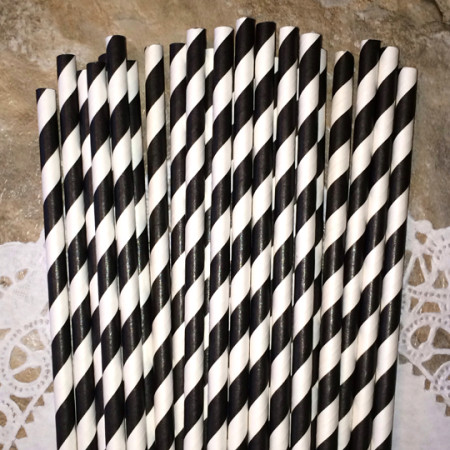 Black Diagonal Striped Paper Straws