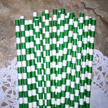 Green Horizontal Striped Paper Straws