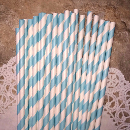 Light Blue Diagonal Striped Paper Straws