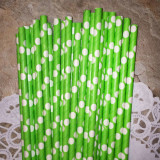 Lime Paper Straws with White Polka Dots