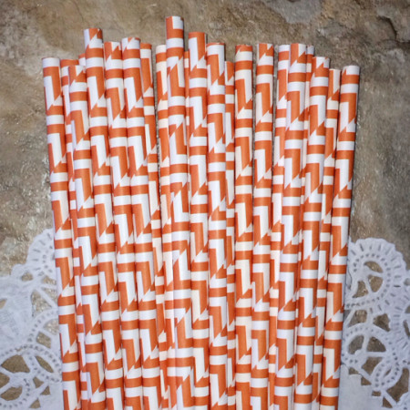 Orange Geometric Paper Straws