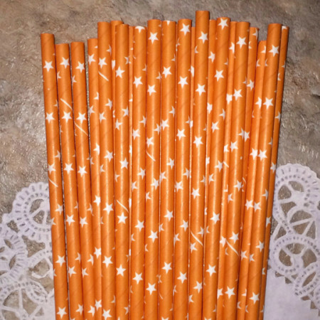 Orange Star Paper Straws