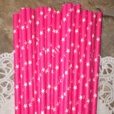 Pink Star Paper Straws